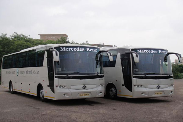 38 Seater Mercedes benz bus with washroom - bus hire company - car rental delhi