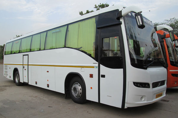 41 Seater volvo bus with washroom - bus rental company - car rental delhi