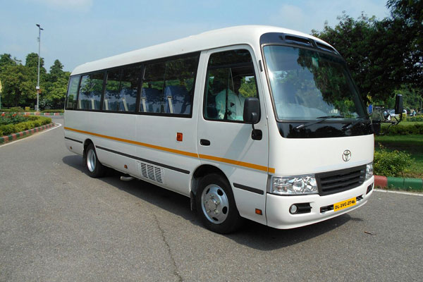 Japanese Vehicle Toyota Coaster 17 Seater - Imported Luxury Vans Rental Company - Car Rental Delhi